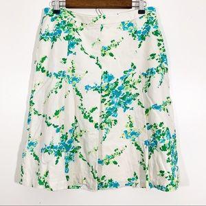 Ann Taylor Sz 12 Silk Floral Pleated A-Line Skirt